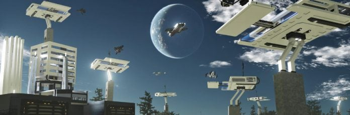 Dual Universe focuses on player-created content, including a racing circuit